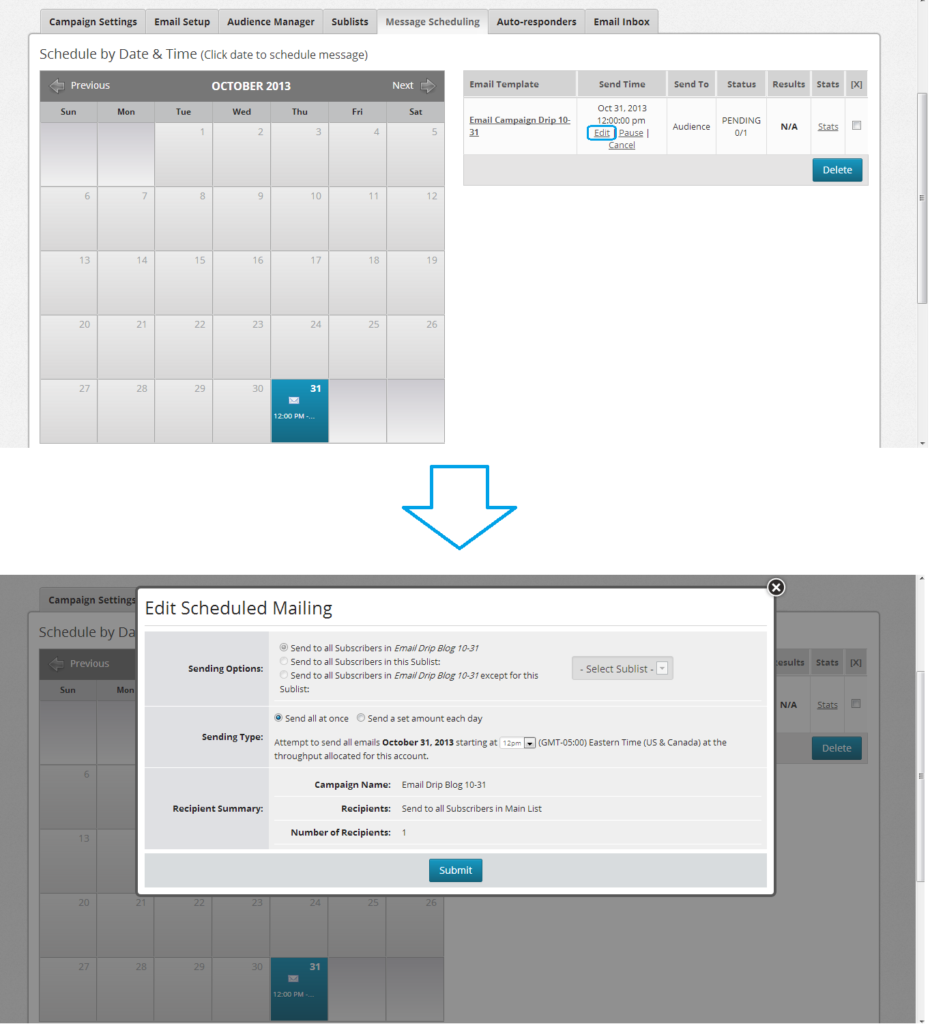 edit scheduled mailing calendar demonstration