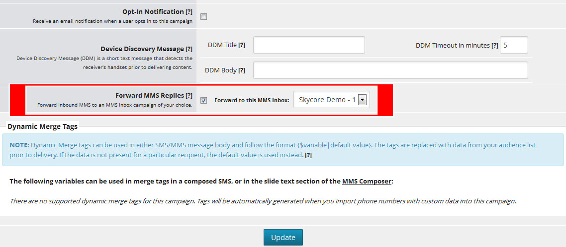 receive mms content without a keyword