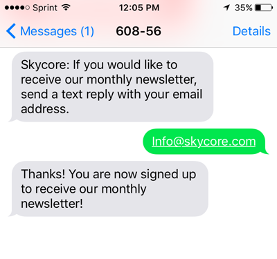 sms email address collection