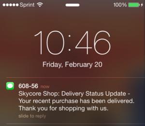 skycore shop message preview