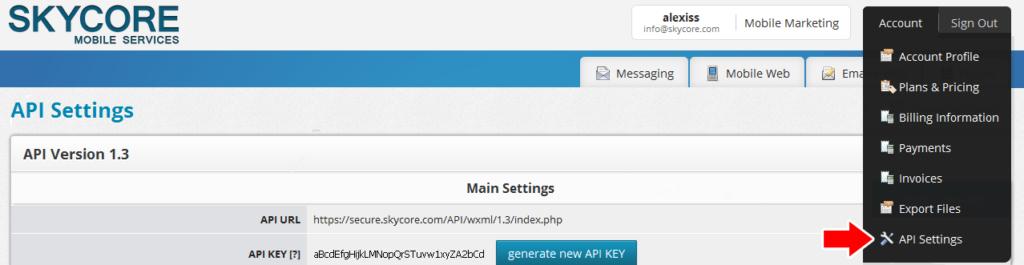 generate a new api key through settings