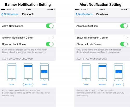 banner and alert notification setting