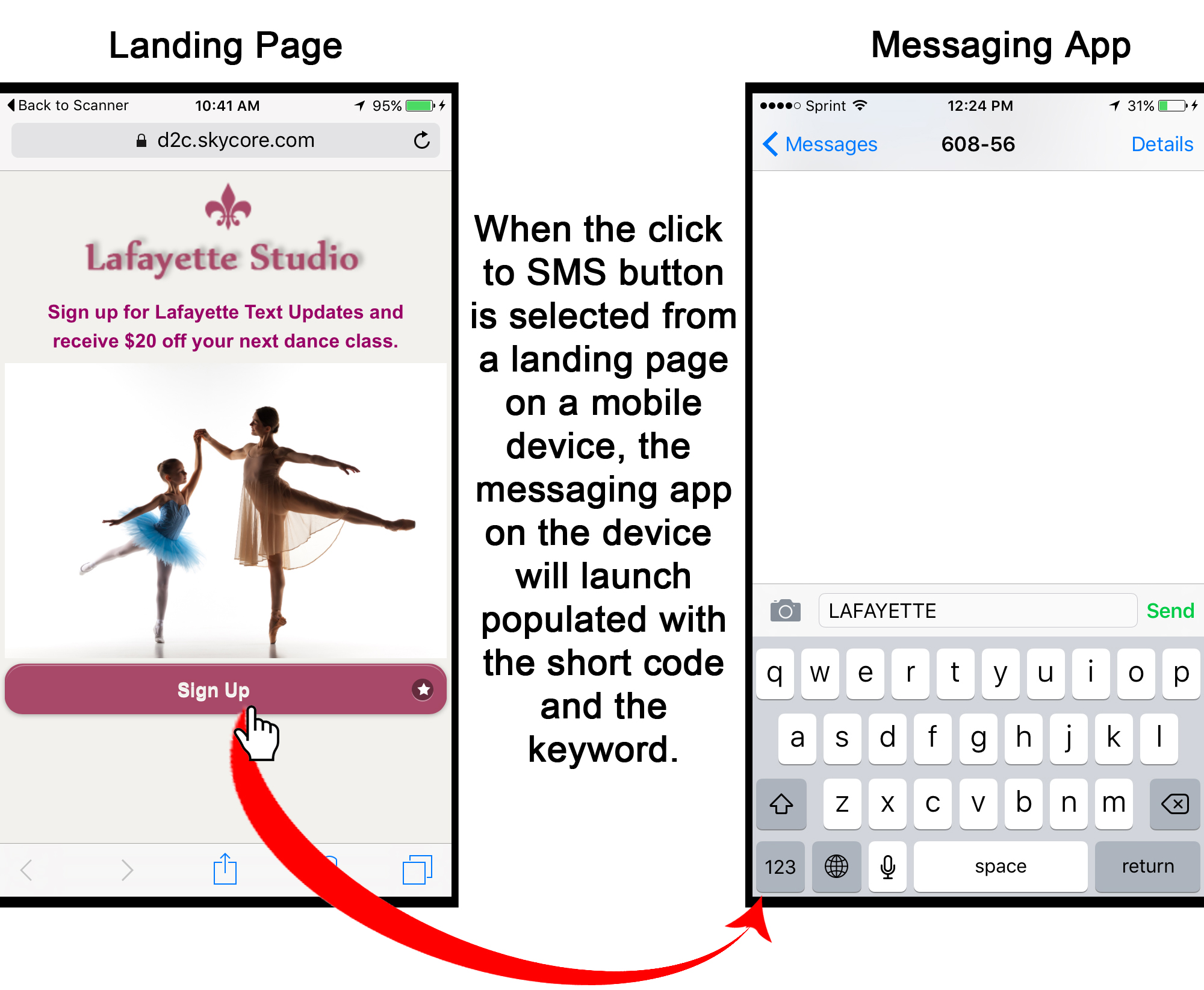 mobile web landing page buttons for click to call functionality