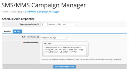 schedule auto-responders for sms or mms campaigns