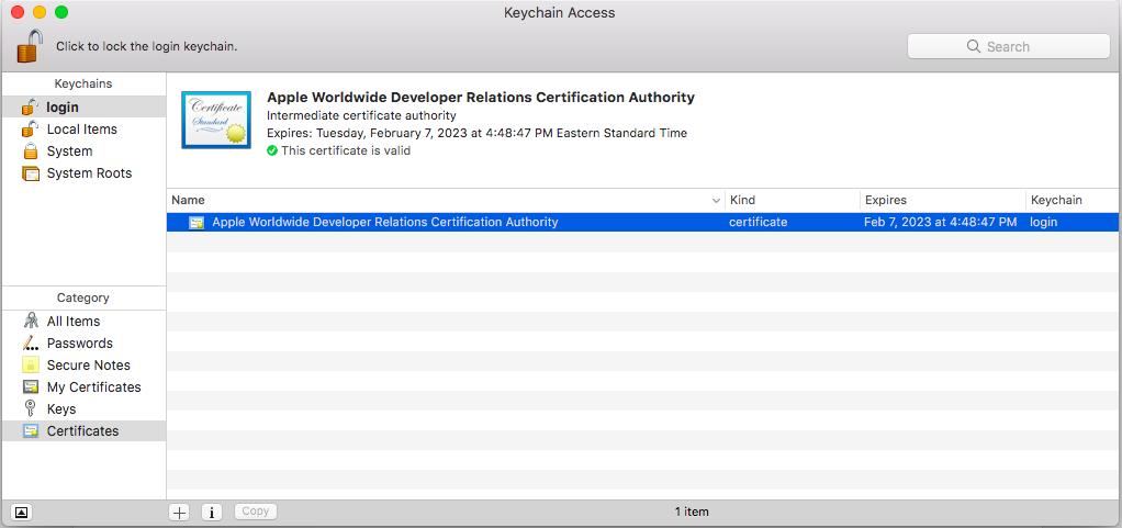 Access the Apple World Developer Intermediate Certificate in Keychain Access