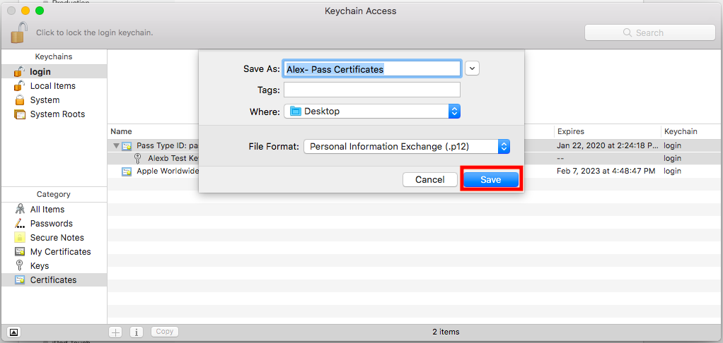Export the certificates as a .p12 file