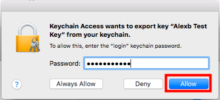 Enter password to export your private key
