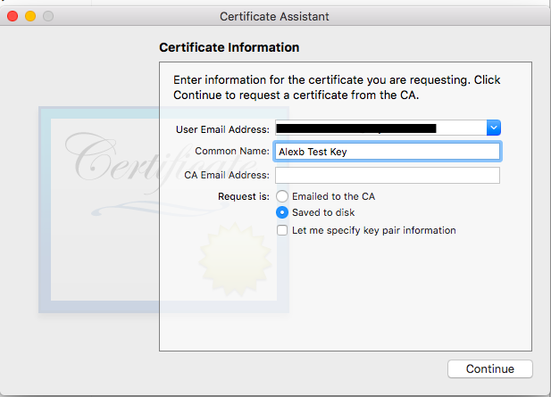 Certificate information from certificate assistant