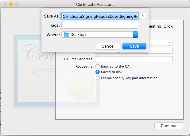 Save certificate from certificate assistant