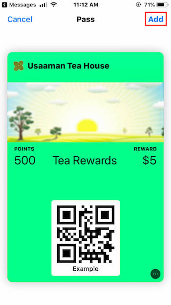 Example of an Apple Wallet Pass