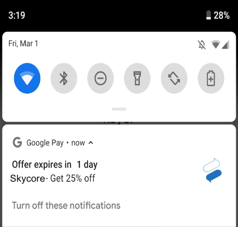 Offer Expiration Notification for Google Pay