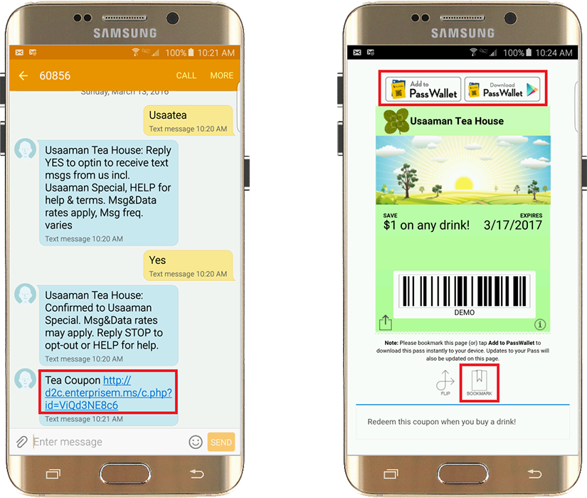 android receive and save mobile wallet