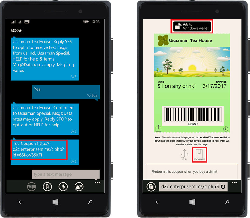 windows receive and save mobile wallet