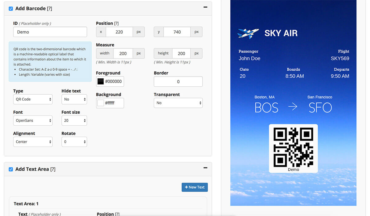 Airline Ticket created in our personalized image builder