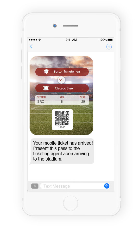 Event ticket delivered using text messaging