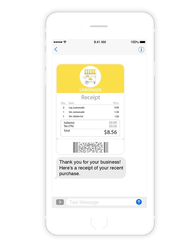 Send mobile receipts to your customers