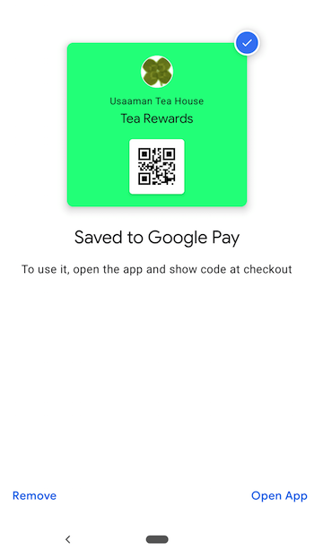 Example of a Google Pay pass after clicking the Pass install link
