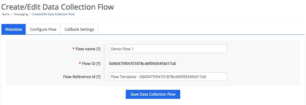 Data collection flow metadata