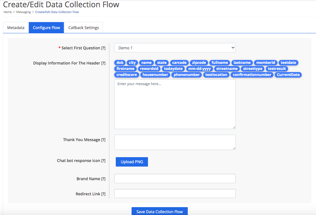 Configure the data collection flow