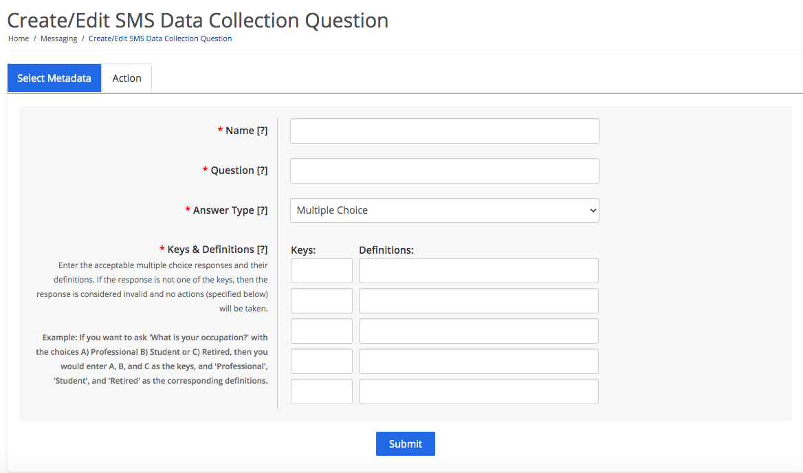 Select metadata for the data collection question