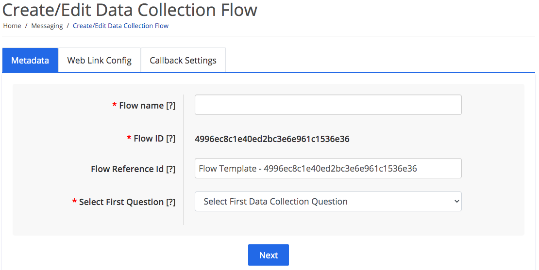 Data collection flow metadata