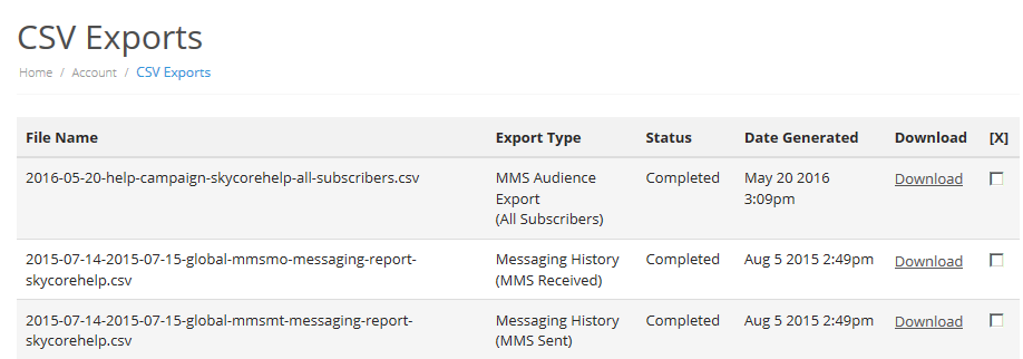 CSV Exports