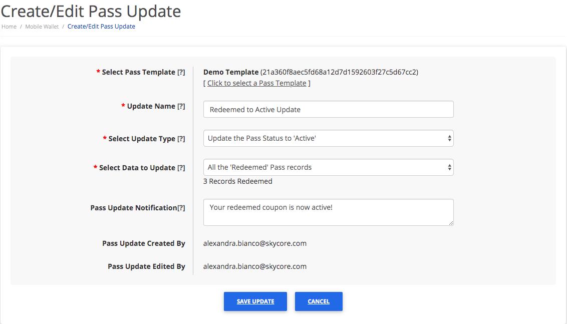 Editing a pass update part 2