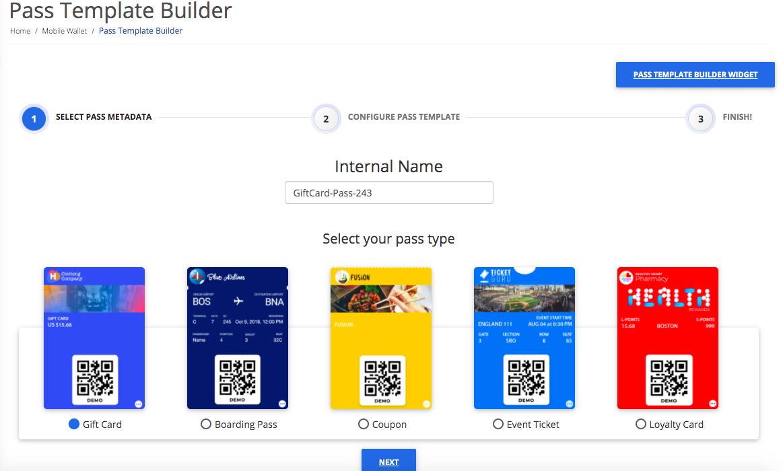 Pass Template Builder step 1