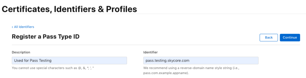 Create/register a Pass Type ID