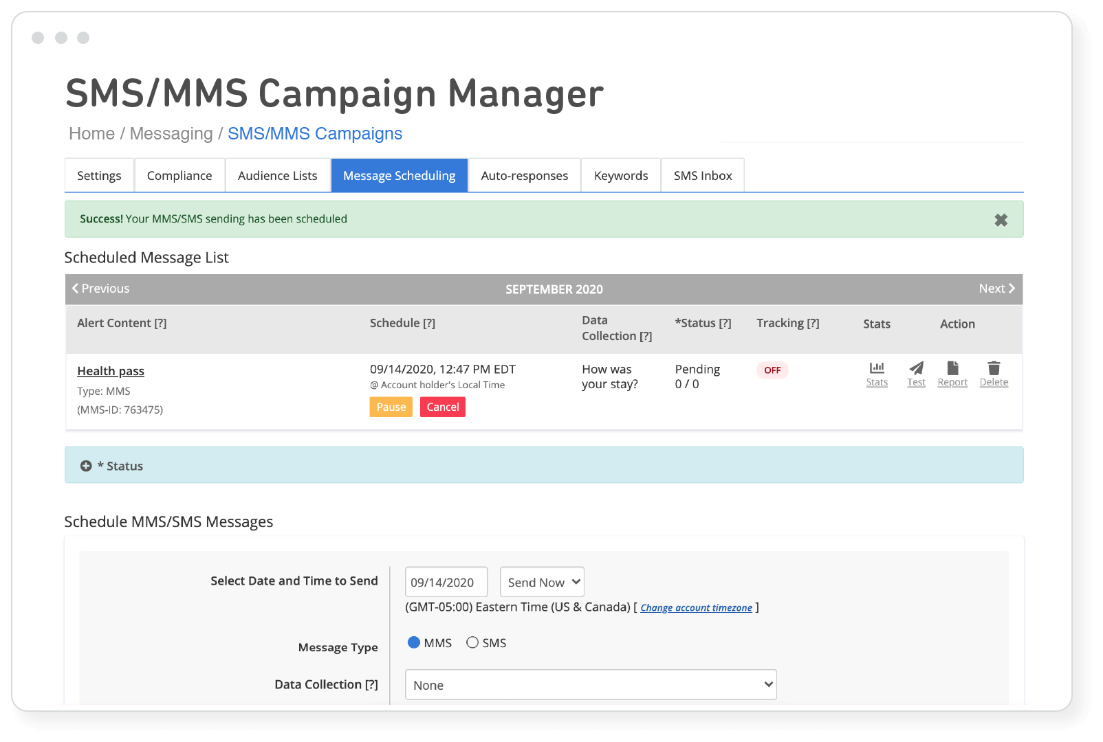 sms mms campaign manager scheduling