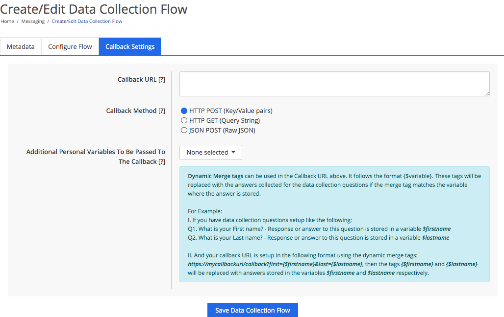 Callback settings for a data collection flow
