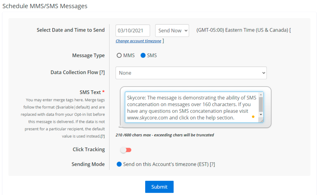 Schedule Message Image for SMS Concatenation